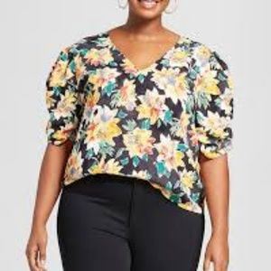 Ava & Viv puff sleeve floral blouse top size 4X